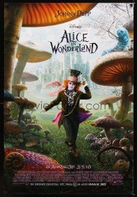 8s021 ALICE IN WONDERLAND mushrooms style advance DS 1sh '10 Tim Burton, Johnny Depp as Mad Hatter!