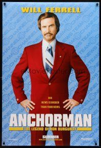 8s032 ANCHORMAN teaser DS 1sh '04 The Legend of Ron Burgundy, image of newscaster Will Ferrell!
