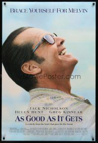 8s043 AS GOOD AS IT GETS int'l DS 1sh '98 great close up smiling image of Jack Nicholson as Melvin!