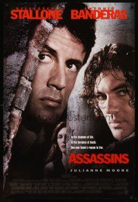 8s046 ASSASSINS DS 1sh '95 cool image of Sylvester Stallone, Antonio Banderas & Julianne Moore!