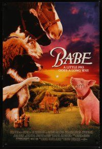 8s052 BABE heavy stock 1sh '95 classic talking pig, children's farm animal comedy!