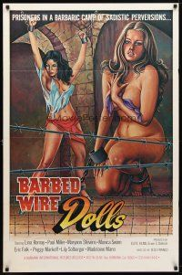 8s063 BARBED WIRE DOLLS 1sh '77 Jesus Franco, sexy art of barely-clothed female prisoners!