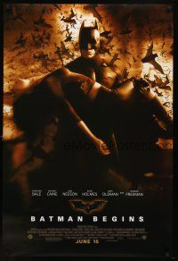 8s069 BATMAN BEGINS June 15 advance DS 1sh '05 Bale as the Caped Crusader carrying Katie Holmes!