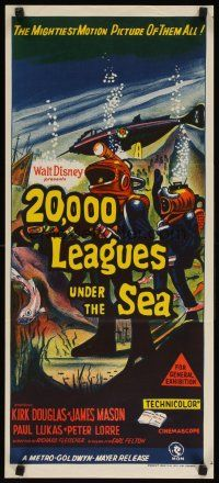 8t362 20,000 LEAGUES UNDER THE SEA Aust daybill R60s Jules Verne classic, art of deep sea divers!