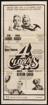 8t363 4 CLOWNS Aust daybill '70 Stan Laurel & Oliver Hardy, Buster Keaton, Charley Chase!