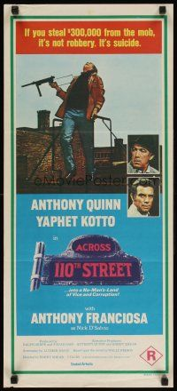 8t369 ACROSS 110th STREET Aust daybill '72 Anthony Quinn, Tony Franciosa, different image!