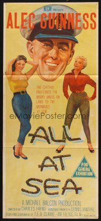 8t374 ALL AT SEA Aust daybill '57 stone litho art of captain Alec Guinness & sexy English babes!
