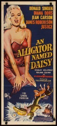 8t375 ALLIGATOR NAMED DAISY Aust daybill '57 art of sexy Diana Dors in skimpy outfit, Jean Carson!