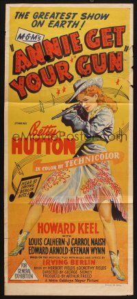 8t382 ANNIE GET YOUR GUN Aust daybill '50 Betty Hutton as the greatest sharpshooter, Howard Keel