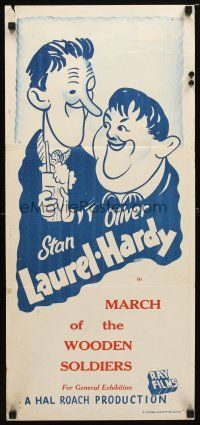8t391 BABES IN TOYLAND stock Aust daybill R50s Laurel  Hardy March of the Wooden Soldiers