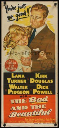8t397 BAD & THE BEAUTIFUL Aust daybill '53 great art of Kirk Douglas roughing up sexy Lana Turner!