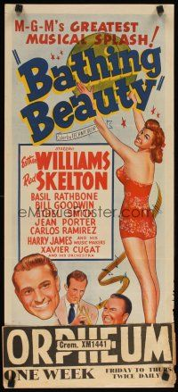 8t404 BATHING BEAUTY Aust daybill R50s Red Skelton, sexy smiling Esther Williams in swimsuit!