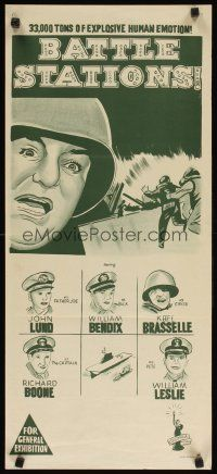 8t407 BATTLE STATIONS Aust daybill '56 John Lund, William Bendix, the story of Navy flat-tops!