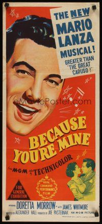 8t410 BECAUSE YOU'RE MINE Aust daybill '52 c/u art of singing Mario Lanza, songs, fun & romance!