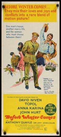 8t412 BEFORE WINTER COMES Aust daybill '69 David Niven & sexy Anna Karina in WWII!