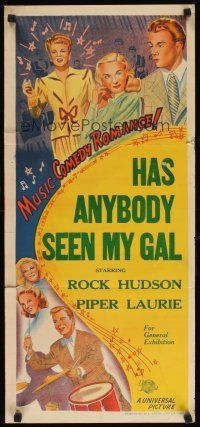 8t563 UNIVERSAL stock Aust daybill 52 Rock Hudson Piper Laurie Coburn Has Anyone Seen My Gal
