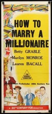8t582 HOW TO MARRY A MILLIONAIRE stock Aust daybill 53 Marilyn Monroe Betty Grable  Bacall