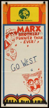 8t668 MARX BROTHERS FUNNIER THAN EVER stock Aust daybill 70s wacky art Go West