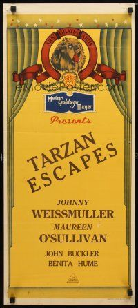 8t677 MGM stock Aust daybill 40s Johnny Weismuller in Tarzan Escapes