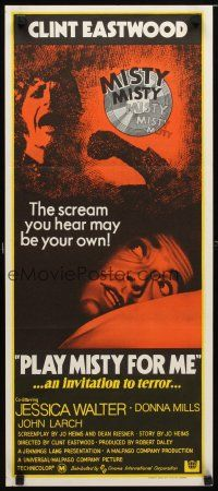 8t744 PLAY MISTY FOR ME Aust daybill 71 Clint Eastwood Jessica Walter an invitation to terror
