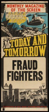 8t893 TODAY  TOMORROW stock Aust daybill 40s cool newsreel stone litho Fraud Fighters