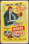 9b843 STEEL CAGE 1sh '54 Paul Kelly is a criminal inside San Quentin prison!