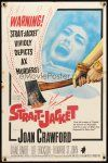 9b845 STRAIT-JACKET 1sh '64 art of crazy ax murderer Joan Crawford, directed by William Castle!
