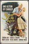 9b848 STRANGER IN MY ARMS 1sh '59 art of Jeff Chandler holding pretty June Allyson!
