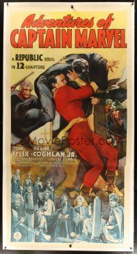 9d024 ADVENTURES OF CAPTAIN MARVEL linen 3sh '41 full-length art of Tom Tyler in costume fighting!