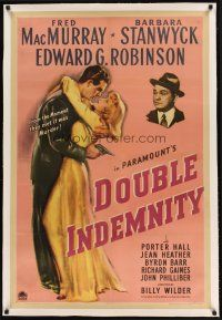 9d238 DOUBLE INDEMNITY linen 1sh '44 Billy Wilder classic, Barbara Stanwyck, MacMurray, Robinson