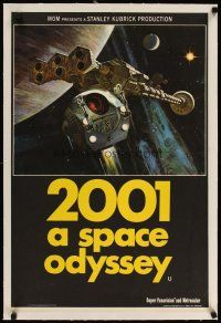 9d083 2001: A SPACE ODYSSEY linen English double crown '68 Kubrick, art of space pod by Bob McCall!