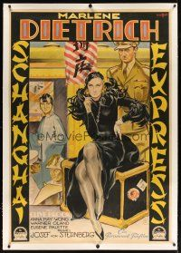 9d001 SHANGHAI EXPRESS linen German 38x55 '32 von Sternberg, wonderful Streimann art of Dietrich!