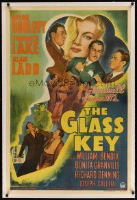 9d256 GLASS KEY linen 1sh '42 incredible artwork of Alan Ladd & sexy Veronica Lake in giant key!
