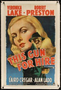9d195 THIS GUN FOR HIRE linen 1sh '42 great image of Alan Ladd with gun & sexy Veronica Lake!