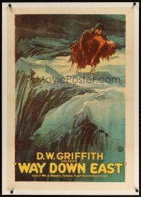 9d393 WAY DOWN EAST linen 1sh '20 D.W. Griffith, great art of Lillian Gish carried over ice floes!