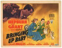 9f068 BRINGING UP BABY TC '38 Howard Hawks, Katharine Hepburn, Cary Grant, wacky art with leopard!