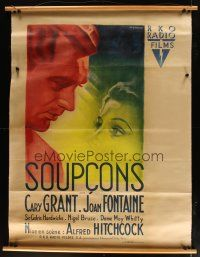 9g004 SUSPICION linen French 1p '46 Hitchcock, Bernard Lancy art of Cary Grant & Joan Fontaine!