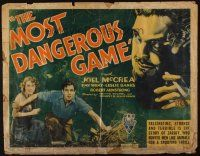 9g112 MOST DANGEROUS GAME 1/2sh '32 Leslie Banks looms over Joel McCrea & Fay Wray, ultra rare!