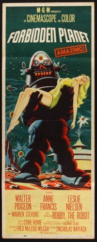 9g129 FORBIDDEN PLANET insert '56 most classic art of Robby the Robot carrying sexy Anne Francis!
