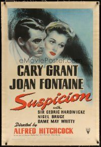 9g013 SUSPICION linen 1sh '41 Alfred Hitchcock, close up art of Cary Grant & Joan Fontaine!