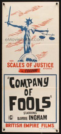 9m964 SCALES OF JUSTICE stock Aust daybill 70s Company of Fools cool lady justice art