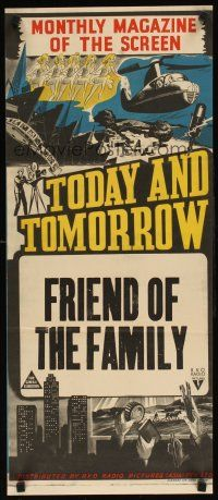 9m986 TODAY  TOMORROW stock Aust daybill 40s cool newsreel stone litho Friend of the Family