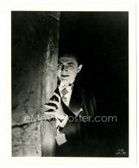 9t493 DRACULA re-strike 8x10 still '60s great close up of vampire Bela Lugosi lurking in shadows!