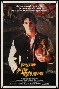 9w023 ALL THE RIGHT MOVES 1sh '83 close up of high school football player Tom Cruise!