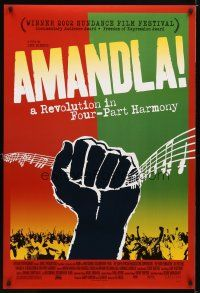 9w025 AMANDLA DS 1sh '02 colorful art from South African musical revolution!