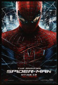 9w026 AMAZING SPIDER-MAN teaser DS 1sh '12 shadowy image of Andrew Garfield in title role!