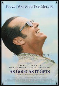 9w033 AS GOOD AS IT GETS int'l DS 1sh '98 great close up smiling image of Jack Nicholson as Melvin!