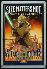 9w036 ATTACK OF THE CLONES IMAX DS style A 1sh '02 Star Wars Episode II, McMacken art of Yoda!