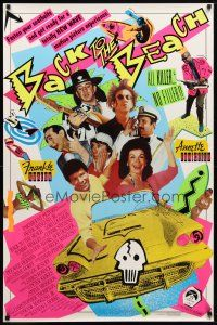 9w041 BACK TO THE BEACH 1sh '87 Avalon & Funicello w/Pee-Wee Herman, rocker Stevie Ray Vaughan!