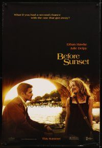 9w049 BEFORE SUNSET teaser DS 1sh '04 romantic image of Ethan Hawke & Julie Delpy!